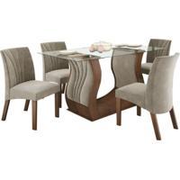 Conjunto De Mesa 1.40M Com 4 Cadeiras Fortuna Castanho Tecido Veludo Pena Bege Lj Móveis