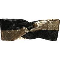 Maryjane Claverol Headband Com Aplicação De Paetês - Dourado