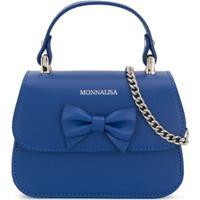 Monnalisa Bolsa Tiracolo De Couro - Azul