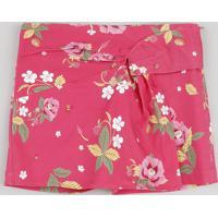 Short Saia Infantil Transpassado Estampado Floral Rosa