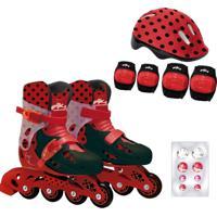 Patins Ajustáveis Com Kit De Segurança 4 Rodas Tamanho 33 Ao 36 Miraculous Ladybug Fun Divirta-Se