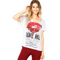 Blusa Coca-Cola Jeans Kiss Me Love Me Branca/Vermelha