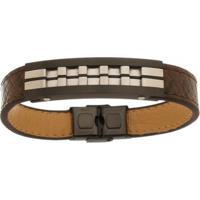 Bracelete De Aço Inox Tudo Joias Black Com 13Mm De Largura - Unissex-Marrom