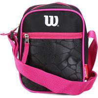Bolsa Wilson Shoulder Bag Croco - Feminino-Preto+Rosa