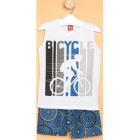 """Conjunto De Regata """"Bicycle"""" + Bermuda- Branco & Azulkyly"""