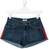Msgm Kids Short Jeans Com Logo - Azul