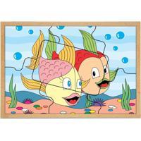 Quebra Cabeça Casal Peixes Base Mdf Com 7 Peças - Carlu