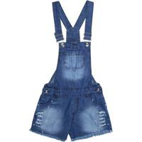 Macacão Jardineira Jeans Juvenil Para Menina - Azul
