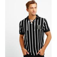 Camisa Retrô Corinthians Réplica 1915 Masculina - Masculino-Preto+Branco