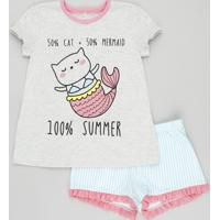 Pijama Infantil Gato Sereia Manga Curta Com Estampa Listrada Cinza Mescla