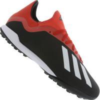 Chuteira Society Adidas X 18.3 Tf - Adulto - Preto Vermelho 3de80c92a0885