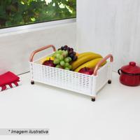Fruteira De Mesa Decorativa- Branca & Cobre- 16X35X2Metaltru