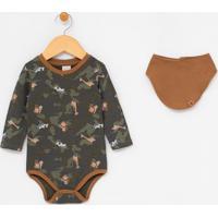 Body Infantil Camuflado Estampas De Animais Com Babador - Tam 0 A 18 Meses