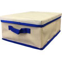 Caixa Organizadora Com Tampa E Alça 28X15X38Cm Organibox Bege/Azul