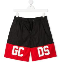 Gcds Kids Short De Natação Com Logo - Preto