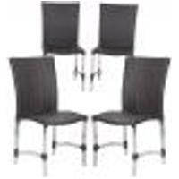 Cadeiras 4Un Para Area Varanda Fibra Sintetica Sala Cozinha Jardim Sacada Florida - Tabaco