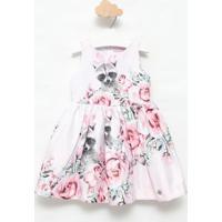 Vestido Floral - Rosa Claro & Cinzagabriela Aquarela