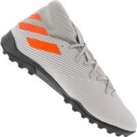 Chuteira Society Adidas Nemeziz 19.3 Tf - Adulto - Cinza/Laranja