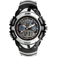 Relógio Infantil Skmei Anadigi Masculino - Masculino-Preto+Prata