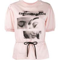 Emporio Armani Blusa Com Cinto - Rosa