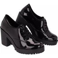 Sapato Oxford Feminino Sw Shoes Salto Alto Preto Verniz