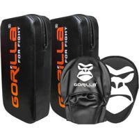 Aparador De Chute + Manopla De Foco Kit Muay Thai - Gorilla - Unissex