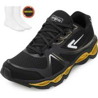 Tênis Running Box 200 Preto-Dourado + Brinde