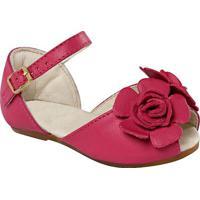 Peep Toe Em Couro Com Flor- Pinkprints Kids