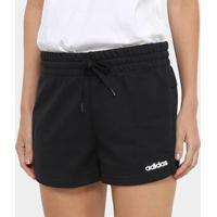 Short Moletom Adidas Aplique Logo Pln Feminino - Feminino-Preto+Branco