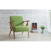 Poltrona Moderna De Madeira Com Pés Palito Estofada E Com Braços Verde - Verniz Amendoa \ Tec.942 - Anis 72X76X85 Cm