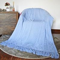 Manta Decorativa Com Franja Tricot 120Cm X 150Cm Cod 1037.2 Azul Bebe