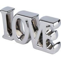 Palavra Decorativa Love Prateado 9X18,5X3,5