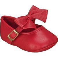Sapato Boneca Em Couro Com Laã§O- Vermelha- Babykimey