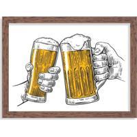 Quadro Decorativo Ein Prosit Bier Brinde Cerveja Madeira - Médio