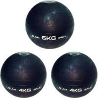 3 Bolas Medicine Slam Ball 6 Kg E 4 Kg Para Crossfit - Liveup - Unissex
