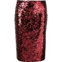 Alice+Olivia Ramos Sequinned Pencil Skirt - Vermelho