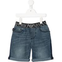 Emporio Armani Kids Short Jeans Com Cós Elástico - Azul