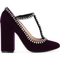 Nº21 Sapato De Couro Com Aplicações - Roxo