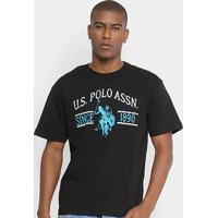 Camiseta U.S. Polo Assn Estampada Masculina - Masculino-Preto