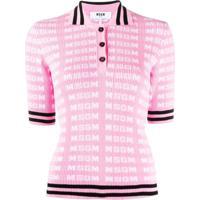 Msgm Camisa Polo Com Logo - Rosa
