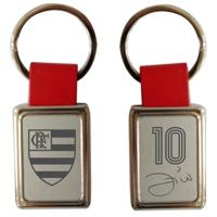 Chaveiro Flamengo Retangular Couro Zico - Unissex