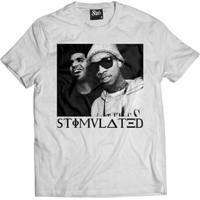 Camiseta Skull Clothing Stimulated Masculina - Masculino-Branco