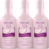 Kit Inoar Pos Progress Shampoo + Condicionador + Leave In 250Ml.