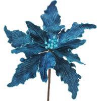 Flor Natalina Artificial Azul Marinho Cabo Curto 30Cm 1 Pç