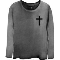 Camiseta Estonada Manga Longa Cross