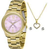 Relógio Lince Feminino Dourado Com Semijóias Corrente, Pingente E Par De Brincos Semijóia Lrgj122L-Ky86R2Kx