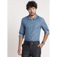 Camisa Social Masculina Comfort Maquinetada Manga Longa Azul Petróleo