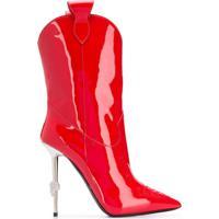 Philipp Plein Bota Com Salto - Vermelho