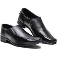 Sapato Social Couro Liso Elástico Lateral Masculino - Masculino-Preto