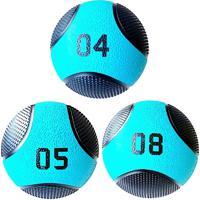 Kit 3 Medicine Ball Liveup Pro 4 5 E 8 Kg Bola De Peso Treino Funcional Lp8112